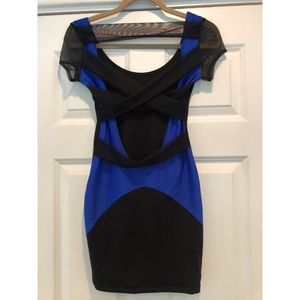 Black/ blue body con dress